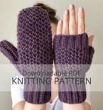 WRECKHOUSE Honeycomb Brioche Stitch Mittens Fingerless Mitts Knitting Pattern