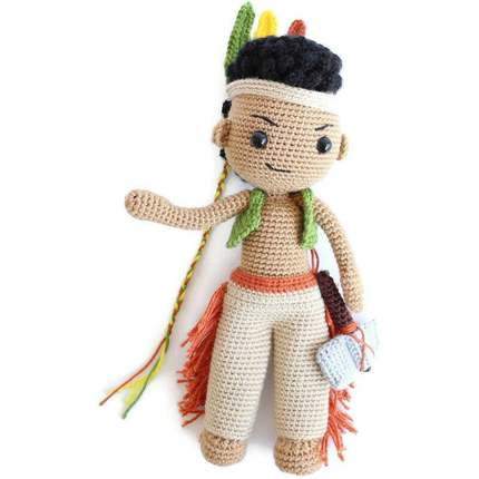 Native American Indian Boy Matto/Crochet doll/crochet native/amigurumi toy