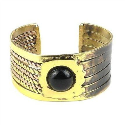Onyx Brass and Copper Cuff