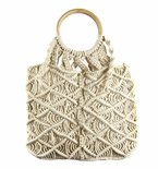 Macrame Bag with Wooden Handle