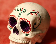 Sugar Skull with Red and Green Flowers