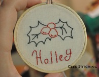 Stitched Holley Ornament
