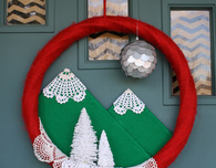 Holiday Wreath made with Felt, Doilies and Scrabble Board