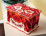 Wood Keepsake Box Embellished with Fabric and Paint
