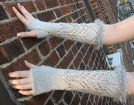 Fingerless Gloves with Lace Pattern and Glitter Cuffs