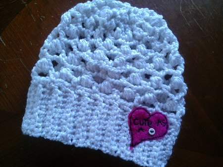 """Cute as a Button"" Crocheted Baby Slouch Hat"