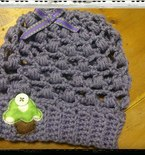 Crocheted Baby Slouchy Hat with Cupcake Applique