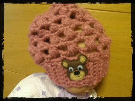 Crocheted Baby Slouch Hat with Bear Applique