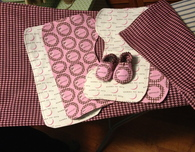 Pink and Brown Baby Shoes, Burp Cloths and Blanket