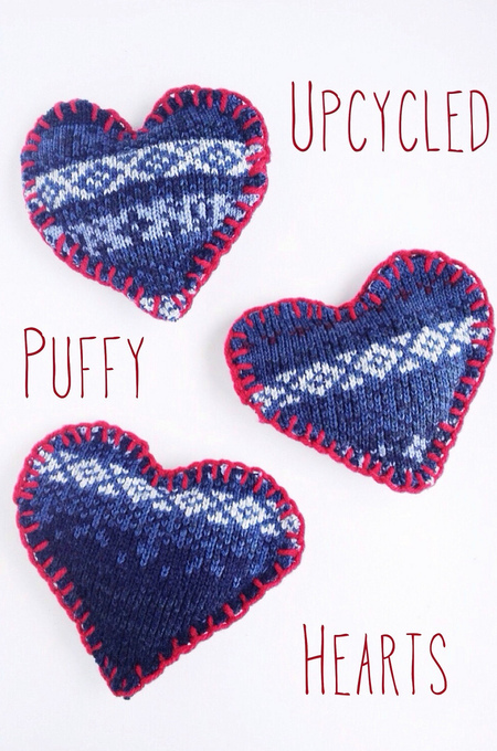 Upcycled Sweater Puffy Hearts