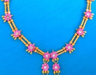 Pink and White (Clear) Stone Studded Necklace