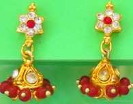 Maroon and Clear Stone Studded Jimikki Earrings