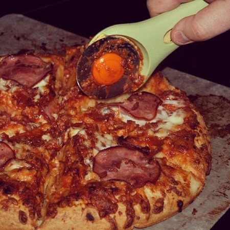 Husband Uses Rotary Cutter to Slice Pizza