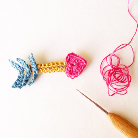 Crochet a Cupid's Heart Arrow Brooch