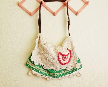 Thrifted Crochet Sham Messenger Bag DIY