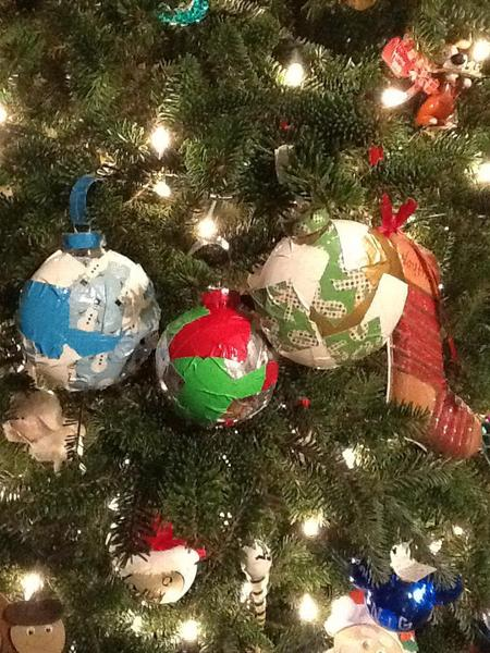 Duck Tape Christmas Bulb Ornaments