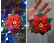 Duct Tape Poinsettia Ornament