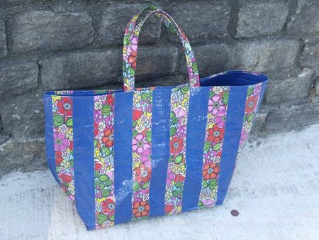 Wall Flower and Blue Duct Tape Tote Bag