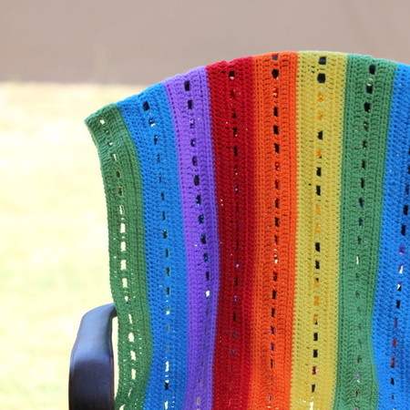 Rainbow Stripe Crochet Blanket Tutorial