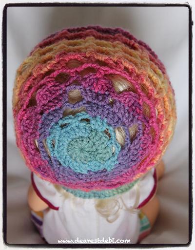 Crochet Valentine Hearts Bonnet