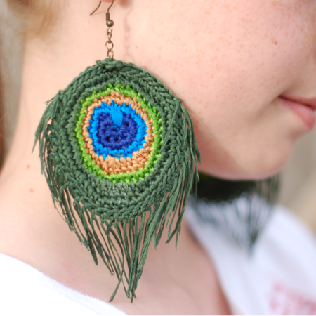 Crocheted Peacock Feather Earrings