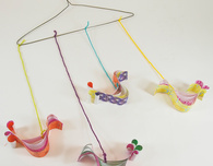 Colorful Quilled Birds Mobile