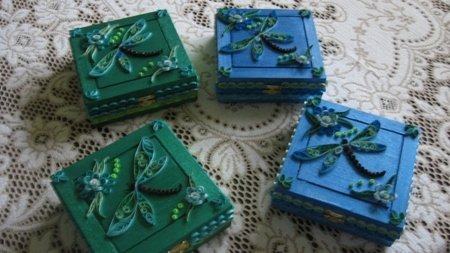 Paper Quilled Dragonfly Boxes