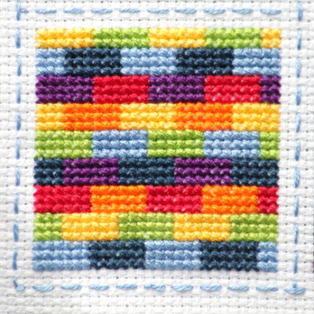 Rainbow Cross Stitch Block 9