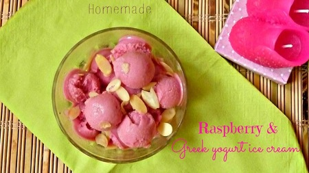Homemade raspberry Greek yogurt ice cream recipe