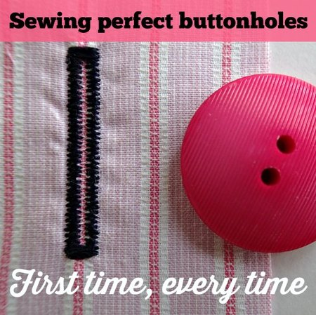Sewing a buttonhole with the buttonhole foot