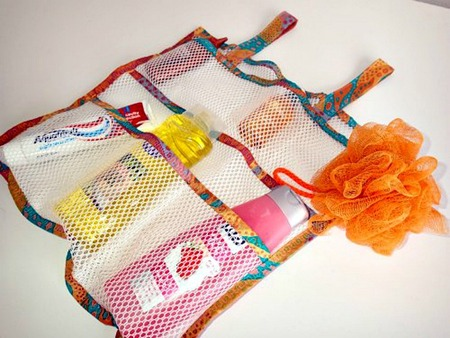 Make a handy mesh shower caddy