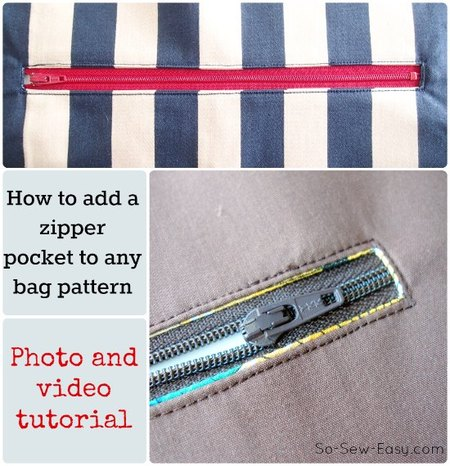 How to add a zipper pocket to any bag pattern