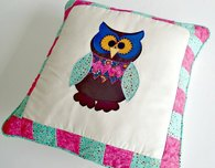 Oliver the Owl nursery pillow with piping