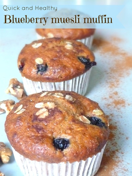 Healthy Whole wheat muesli blueberry muffins