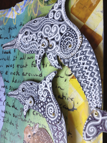 Pose-able Dolphin with Zentangles