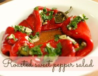 Roasted sweet red peppers salad