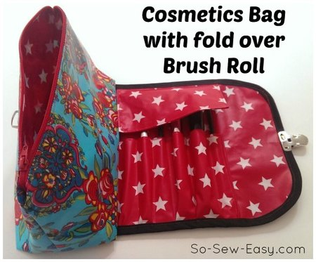 Cosmetics bag with fold over brush roll