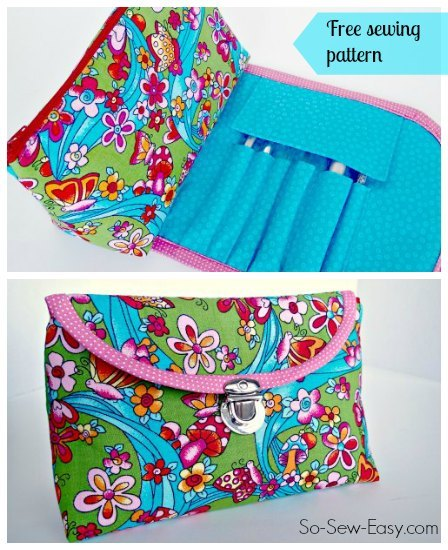 Cosmetics bag with fold over brush roll video tutorial
