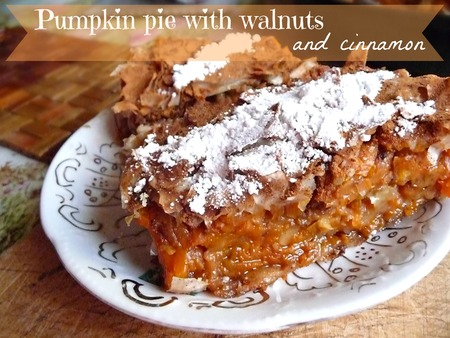 Pumpkin pie with walnuts and cinnamon