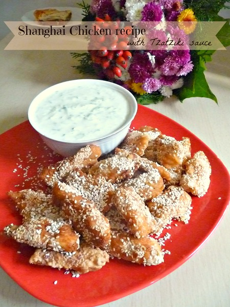 Shanghai chicken with Tzatziki sauce