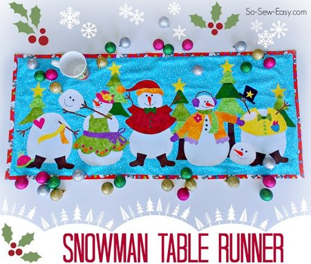 Applique Snowman table runner