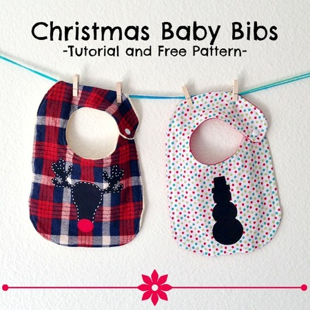 Christmas baby bibs pattern and tutorial