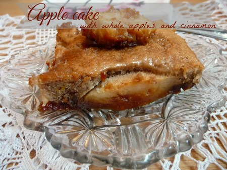 Cinnamon apple cake with whole apples, nuts & caramel