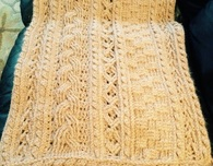 Crocheted cable shawl