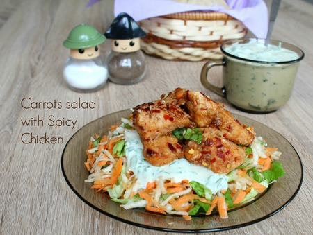 Spicy chicken, celery root and carrots salad with yogurt mustard sauce