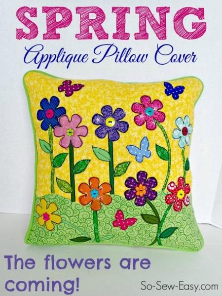 Spring Applique Pillow Cover