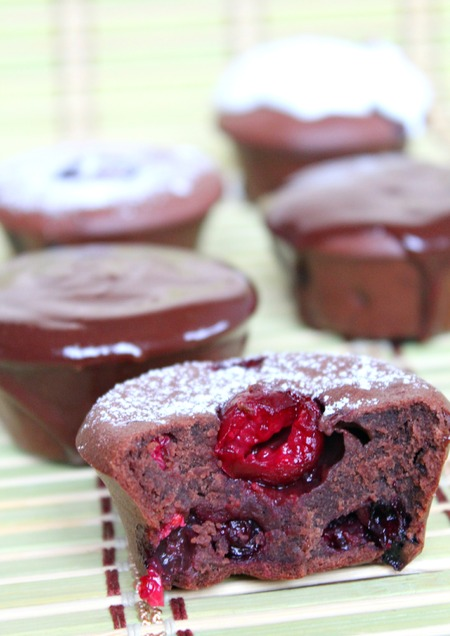 Berry cherry brownie muffins