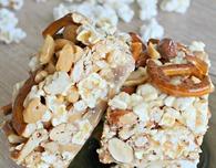 Caramel popcorn pretzel bars
