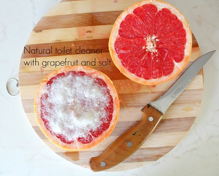 Natural toilet cleaner with grapefruit and salt