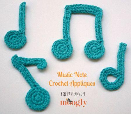 Music Note Crochet Appliques